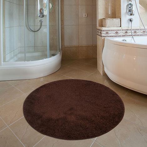 Resim  Confetti Firuze Yuvarlak Banyo Halısı (Kahverengi) - 100x100 cm