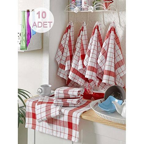 Resim  Eponj Home 10'lu Kurulama ve Mutfak Peçetesi (Kırmızı) - 46x76 cm