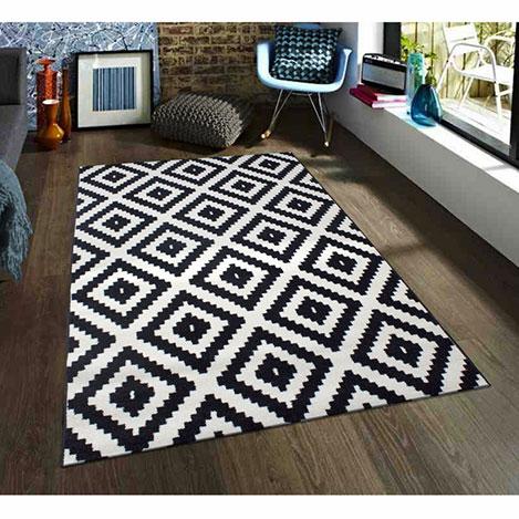 Resim  Saray 012 Lena Mozaik Modern Halı (Siyah/Beyaz) - 200x300 cm