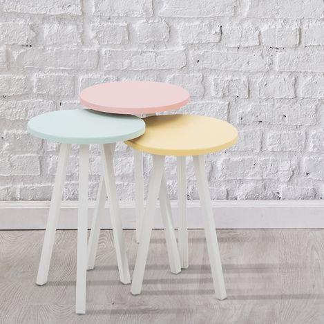 Resim  House Line Soft Eko Retro Sehpa - Mavi/Pembe/Sarı
