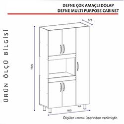 Arnetti Defne Çok Amaçlı Dolap - Beyaz / Ceviz