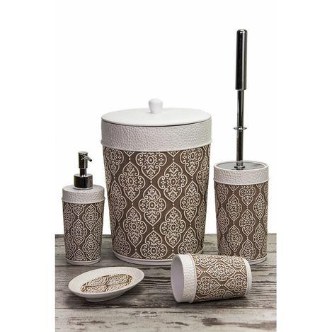 Resim  Mukko Home Polyester 5'li Banyo Seti - Dantel Kahve