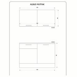 Fly Mobilya Albus (120 cm) Mutfak Dolabı - Beyaz / Yerli Ceviz