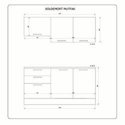 Fly Mobilya Voldemort (160 cm) Mutfak Dolabı - Beyaz / Safir Meşe