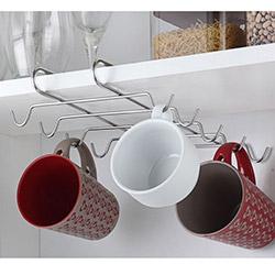 Practika 10 Kancalı Metal Dolap içi Fincan ve Kupa Askılığı - 27,5x18,5 cm