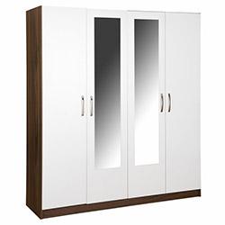 House Line Rose 4 Kapılı 3 Çekmeceli Aynalı Gardırop - Ceviz / Beyaz