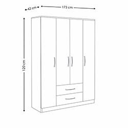House Line Pasific4 Kapılı 2 Çekmeceli Gardırop - Ceviz / Beyaz