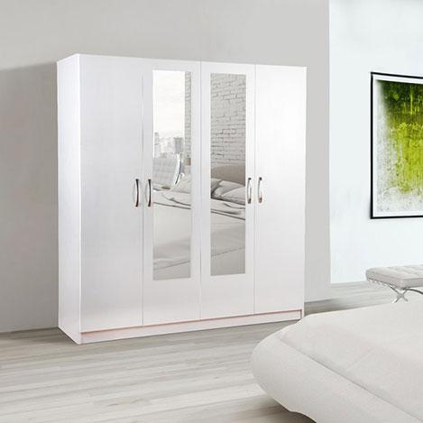 House Line Carinda 4 Kapılı 3 Çekmeceli Aynalı Gardırop - Beyaz