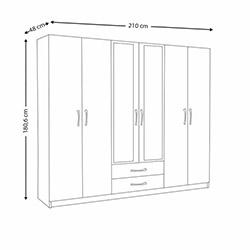 House Line Oscar 6 Kapılı 2 Çekmeceli Aynalı Gardırop - Ceviz / Beyaz