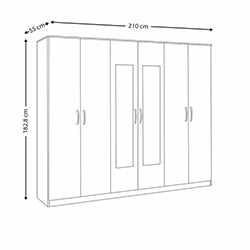House Line Castello 6 Kapılı 3 Çekmeceli Aynalı Gardırop - Beyaz / Ceviz