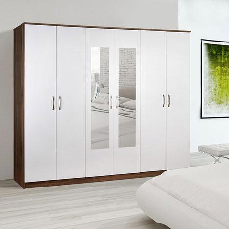 Resim  House Line Castello 6 Kapılı 3 Çekmeceli Aynalı Gardırop - Beyaz / Ceviz