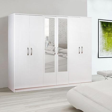 Resim  House Line Olimpus 6 Kapılı 3 Çekmeceli Aynalı Gardırop - Beyaz