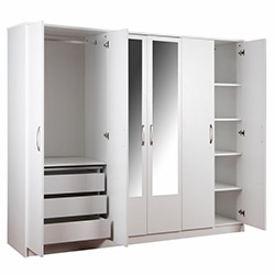 House Line Olimpus 6 Kapılı 3 Çekmeceli Aynalı Gardırop - Beyaz