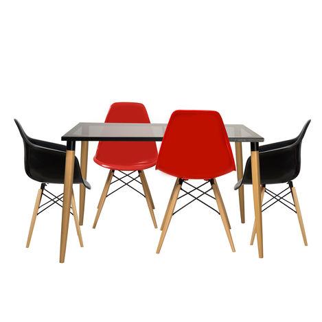 House Line LG-6 Legos Mona Lisa Masa Takımı (4 Sandalyeli) - Kırmızı/Siyah