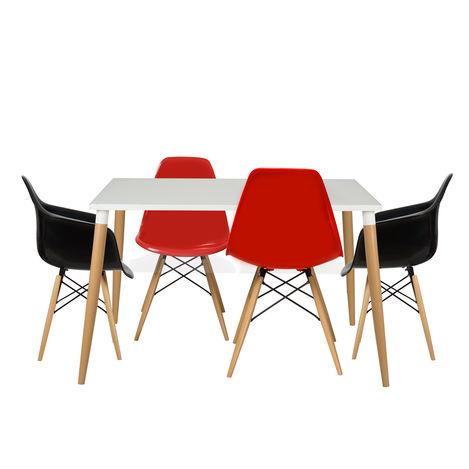 House Line LG-31 Legos Mona Lisa Masa Takımı (4 Sandalyeli) - Beyaz/Kırmızı/Siyah