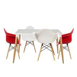 House Line LG-35 Legos Lisa Masa Takımı (4 Sandalyeli) - Beyaz/Kırmızı