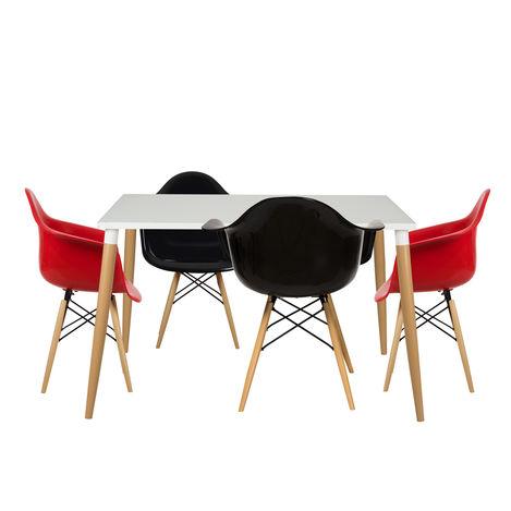 House Line LG-36 Legos Lisa Masa Takımı (4 Sandalyeli) - Beyaz/Kırmızı/Siyah