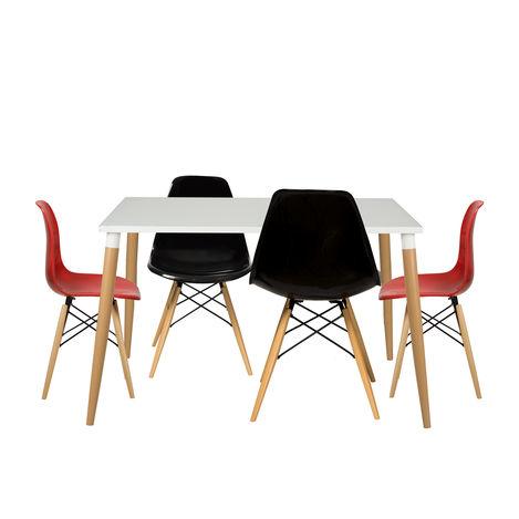 Resim  House Line LG-40 Legos Mona Masa Takımı (4 Sandalyeli) - Beyaz/Kırmızı/Siyah