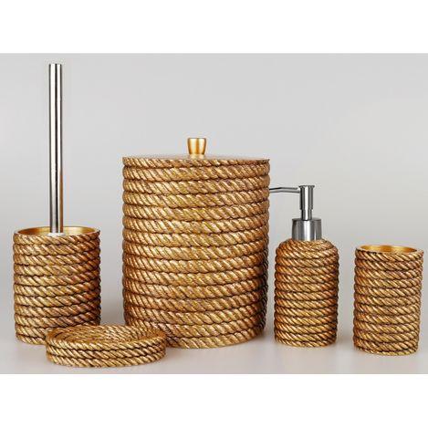 BySelim Rope 5'li Banyo Seti - Altın