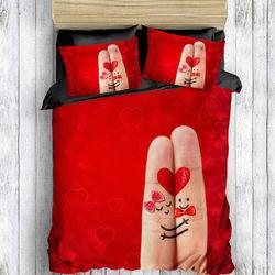 Eponj Home 3D Finger Çift Kişilik Nevresim Takımı - Kırmızı