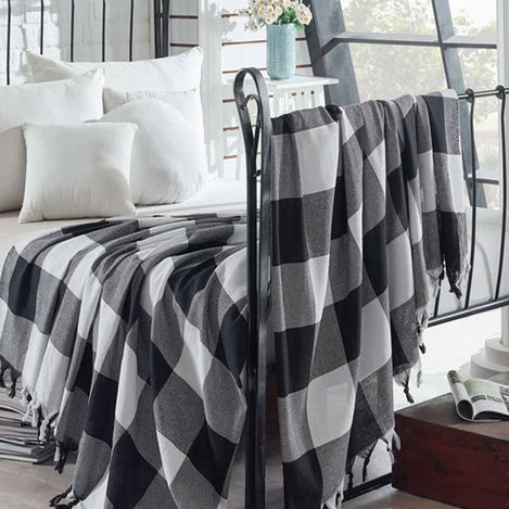Eponj Home Dama Püsküllü Naturel Çift Kişilik Yatak Örtüsü - Siyah/Beyaz
