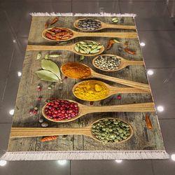 Else 3D Baharat Mutfak Dokuma Şönil Halı - 80x300 cm