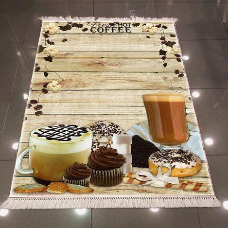 Else 3D Kahve Mutfak Dokuma Şönil Halı - 80x300 cm