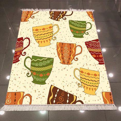 Else 3D Bardak Çay Dokuma Şönil Halı - 80x300 cm