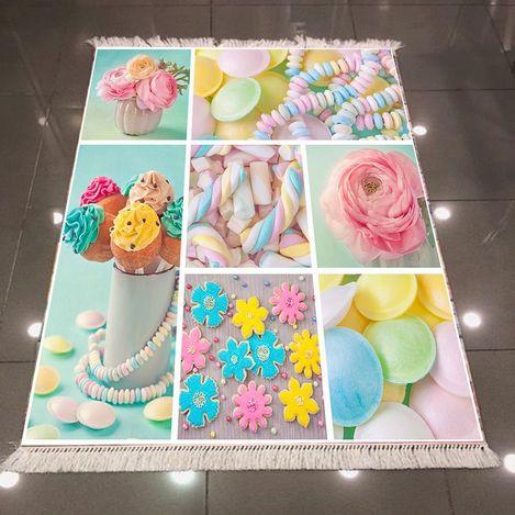 Else 3D Şekerler Mutfak Dokuma Şönil Halı - 80x150 cm
