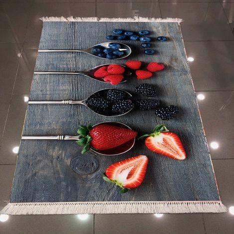 Resim  Else 3D Kaşık Meyveli Dokuma Şönil Halı - 120x170 cm