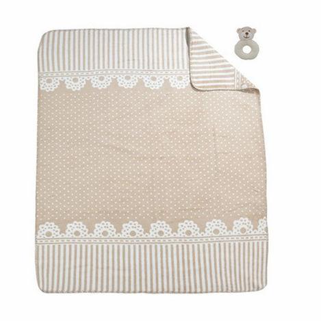 Resim  Merinos Lace Oyuncaklı Bebek Battaniye - Bej