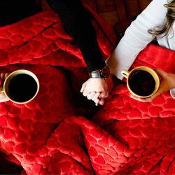 Aksu Damla Embos Love Çift Kişilik Battaniye - Kırmızı