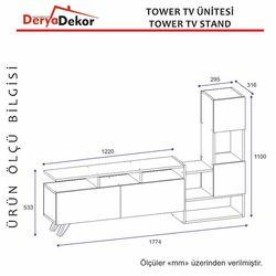 Derya Dekor Tower Tv Ünitesi - Ceviz/Beyaz