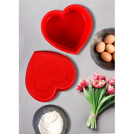Keramika 0135 Kalp Silikon Kek Kalıbı (Kırmızı) - 23x9 cm