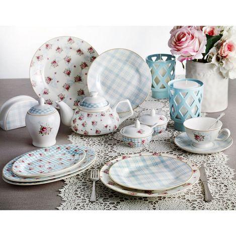 Pierre Cardin 71090538 6 Kişilik Crown Bone China Camellia Kahvaltı Seti - Mavi