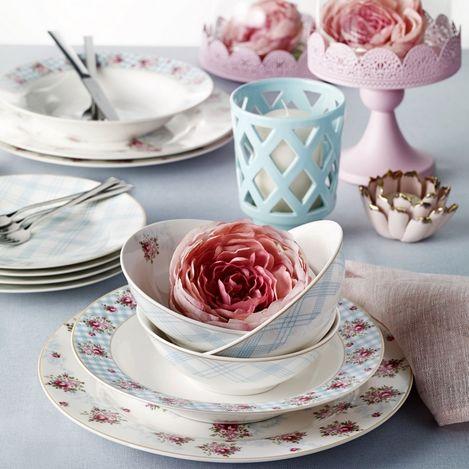 Pierre Cardin 71090539 6 Kişilik Crown Bone China Camellia Yemek Takımı - Mavi