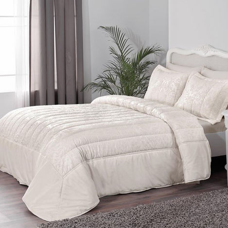Taç Marcella Çift Kişilik Yatak Örtüsü Takımı - Ekru