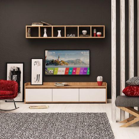 Resim  Mymob Aria Tv Ünitesi - Beyaz/Altın Meşe
