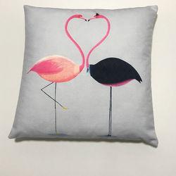 Nevresim Dünyası Kissing Flamingo Kırlent Kılıfı - 43x43 cm