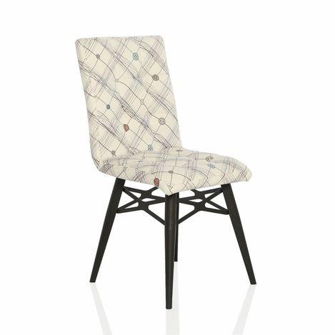 Resim  Seduna Duru İlik Desen Mutfak Sandalyesi - Krem/Beyaz