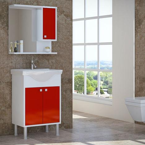 Resim  House Line Brano Lavabolu Banyo Dolabı (60 cm) - Kırmızı