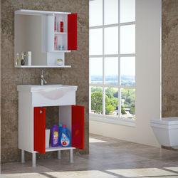House Line Brano Lavabolu Banyo Dolabı (60 cm) - Kırmızı
