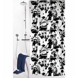 Melodie 9003 Tek Kanat Duş Perdesi (Siyah/Beyaz) - 180x200 cm