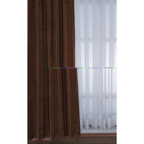 Premier Home 1416 Kadife Fon Perde (Koyu Kahverengi) - 140x270 cm