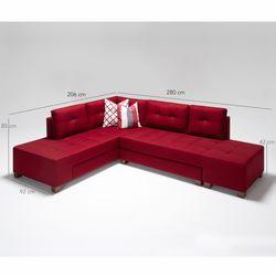 Evdebiz Manama Stil Sol Köşe Koltuk - Kırmızı