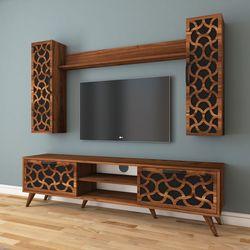 Rani A8 Desenli Duvar Raflı Kitaplıklı Tv Ünitesi - Ceviz / Siyah