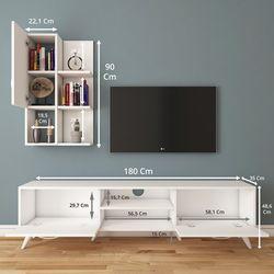 Rani A9 M46 Duvar Raflı Kitaplıklı Tv Ünitesi - Beyaz