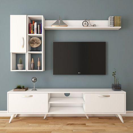 Resim  Rani A9 M44 Duvar Raflı Kitaplıklı Tv Ünitesi - Beyaz