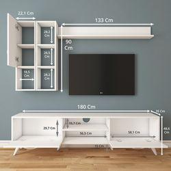 Rani A9 M44 Duvar Raflı Kitaplıklı Tv Ünitesi - Beyaz