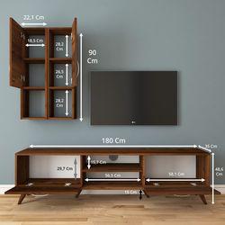 Rani A9 M39 Duvar Raflı Kitaplıklı Tv Ünitesi - Ceviz